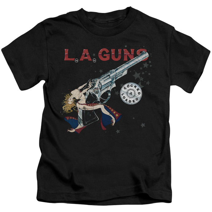 L.A. Guns Cocked And Loaded Juvenile Kids Youth T Shirt Black