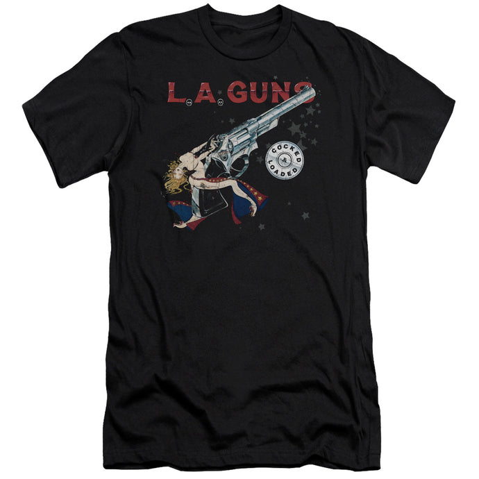 L.A. Guns Cocked And Loaded Slim Fit Mens T Shirt Black
