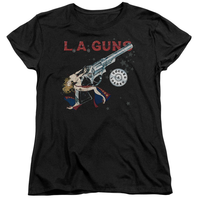 L.A. Guns Cocked And Loaded Womens T Shirt Black