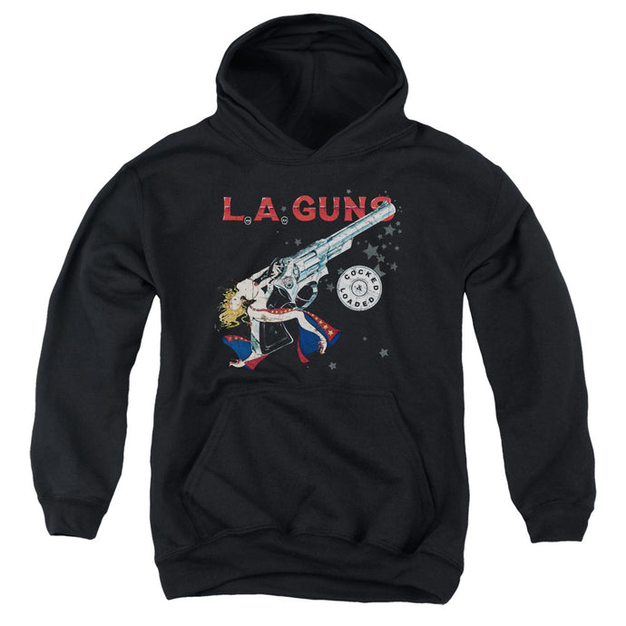 L.A. Guns Cocked And Loaded Kids Youth Hoodie Black