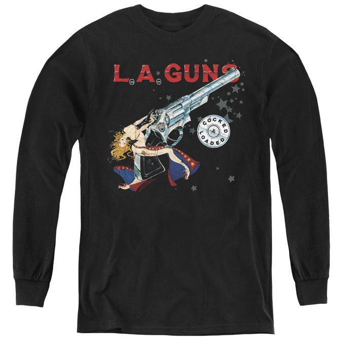 L.A. Guns Cocked And Loaded Long Sleeve Kids Youth T Shirt Black