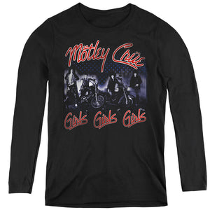 Motley Crue Girls Womens Long Sleeve Shirt Black