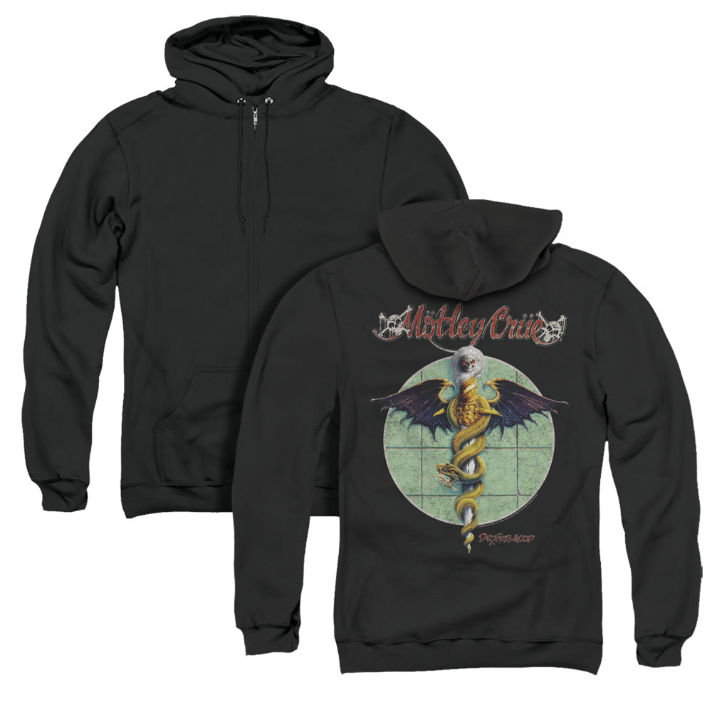 Motley Crue Dr. Feelgood Back Print Zipper Mens Hoodie Black