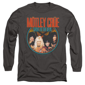 Motley Crue Crue Shout Mens Long Sleeve Shirt Charcoal