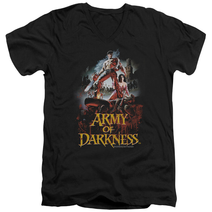 Army Of Darkness Bloody Poster Mens Slim Fit V-Neck T Shirt Black