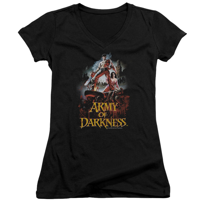 Army Of Darkness Bloody Poster Junior Sheer Cap Sleeve V-Neck Womens T Shirt Black