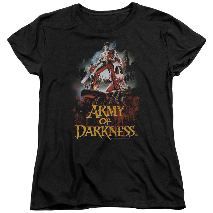 Army Of Darkness Bloody Poster Womens T Shirt Black