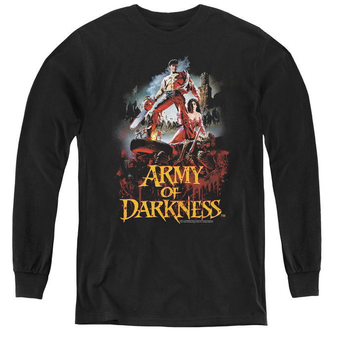 Army Of Darkness Bloody Poster Long Sleeve Kids Youth T Shirt Black