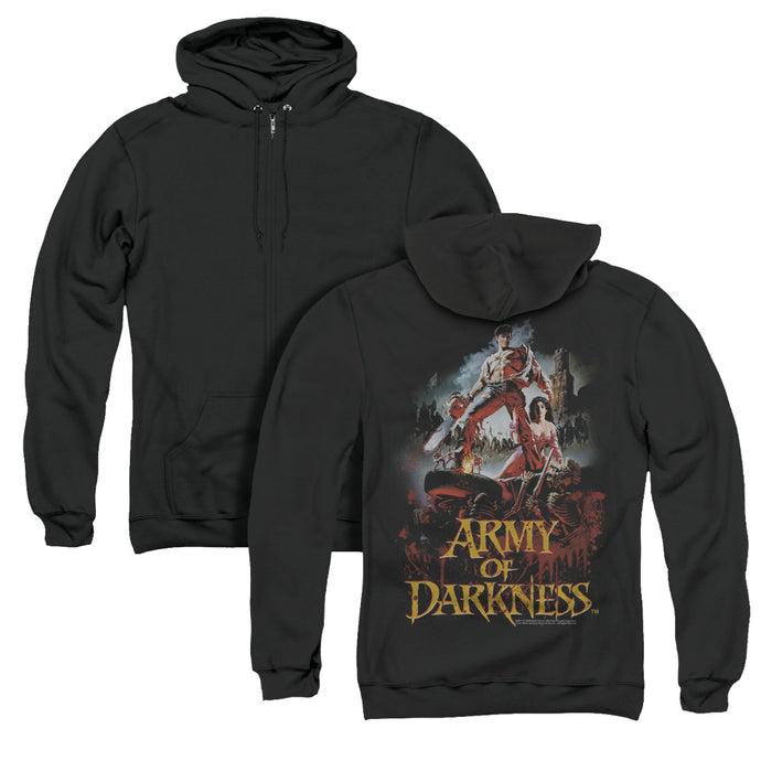 Army Of Darkness Bloody Poster Back Print Zipper Mens Hoodie Black