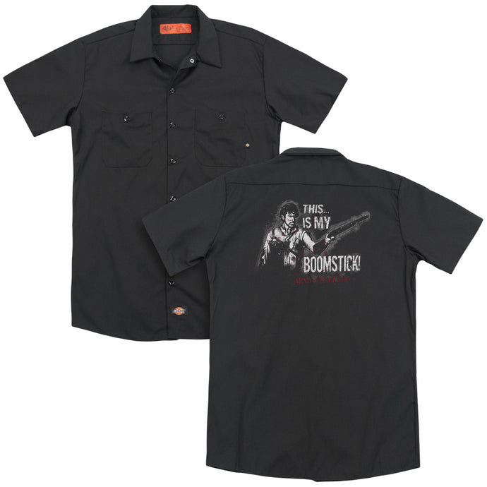 Army Of Darkness Boomstick Back Print Mens Work Shirt Black