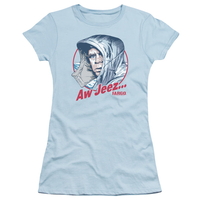 Fargo Aw Jeez Junior Sheer Cap Sleeve Womens T Shirt Light Blue