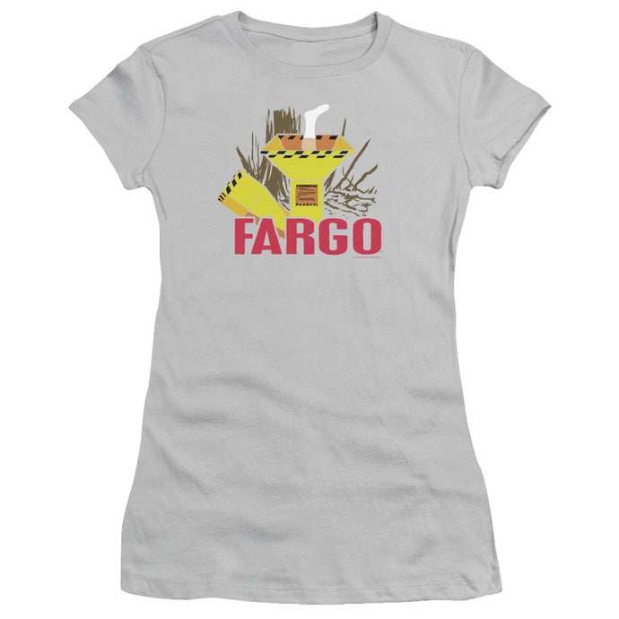 Fargo Woodchipper Junior Sheer Cap Sleeve Womens T Shirt Silver