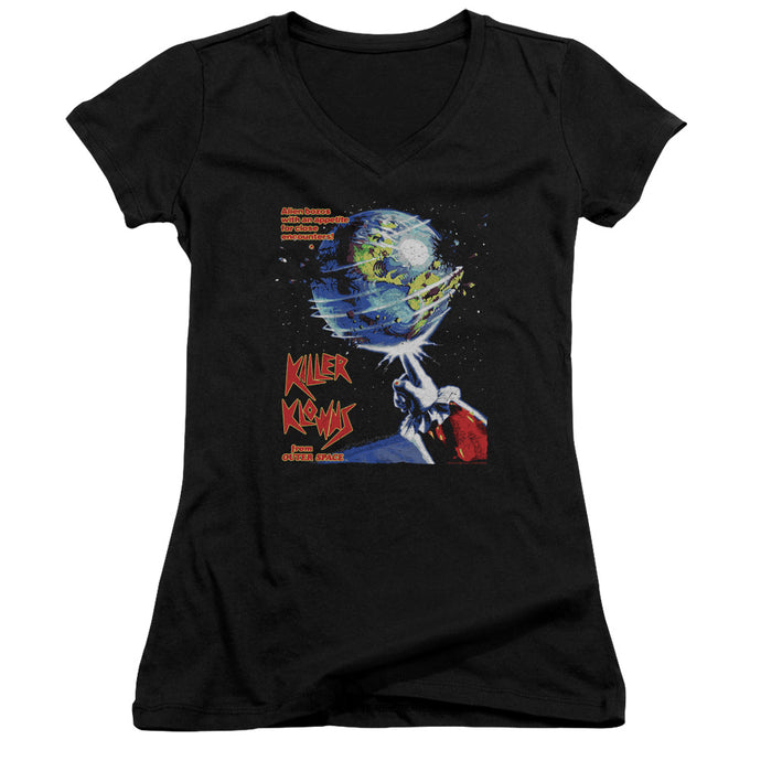 Killer Klowns From Outer Space Invaders Junior Sheer Cap Sleeve V-Neck Womens T Shirt Black