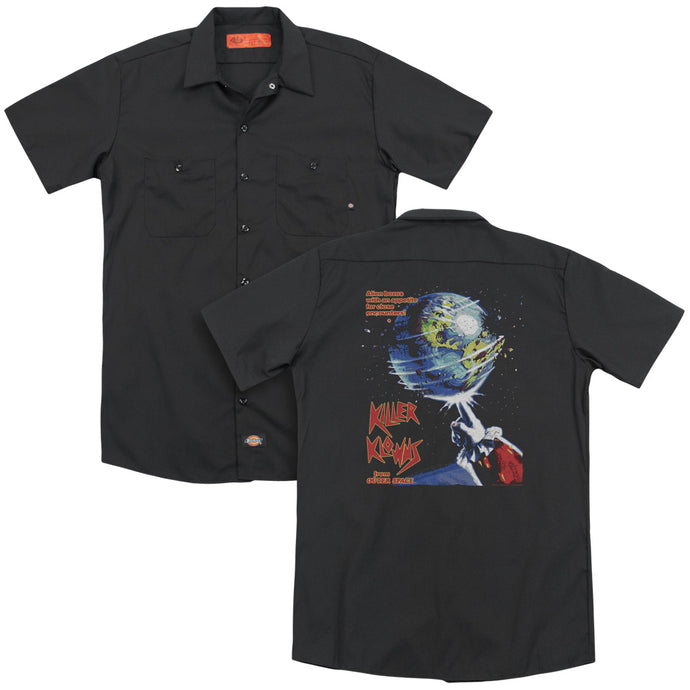 Killer Klowns From Outer Space Invaders Back Print Mens Work Shirt Black