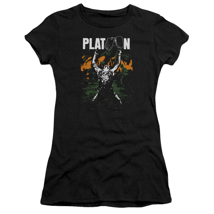 Platoon Graphic Junior Sheer Cap Sleeve Womens T Shirt Black