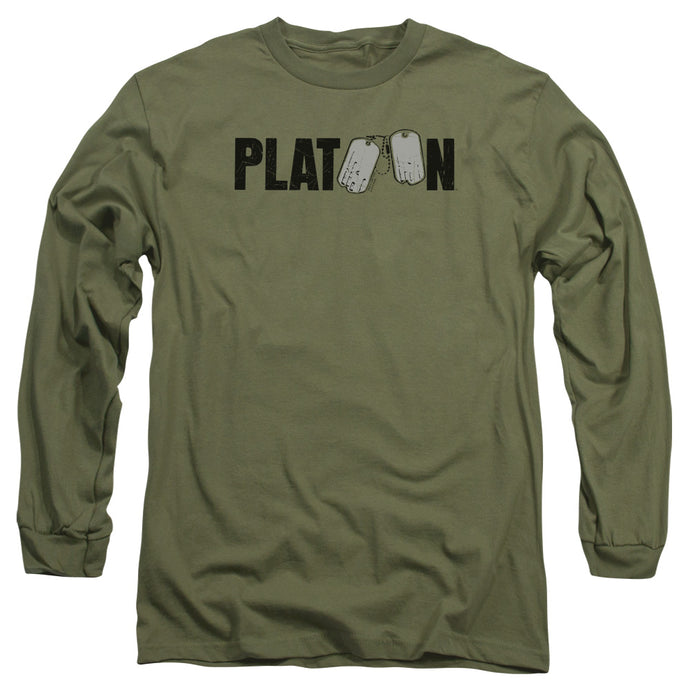 Platoon Logo Mens Long Sleeve Shirt Military Green