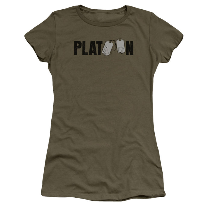 Platoon Logo Junior Sheer Cap Sleeve Womens T Shirt Military Green