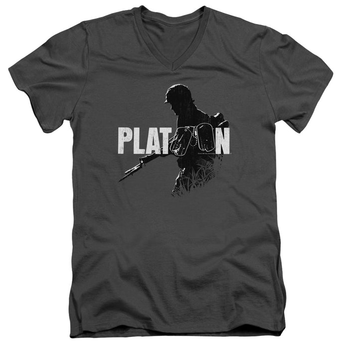 Platoon Shadow Of War Mens Slim Fit V-Neck T Shirt Charcoal
