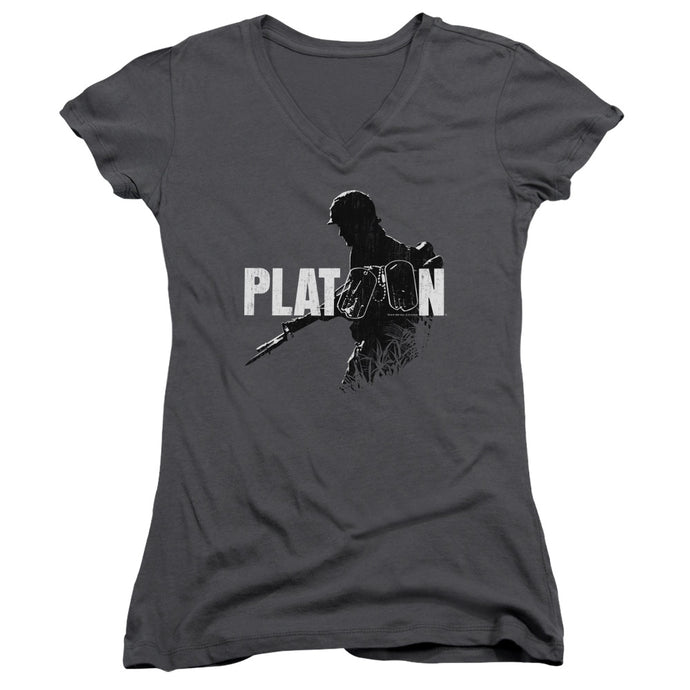 Platoon Shadow Of War Junior Sheer Cap Sleeve V-Neck Womens T Shirt Charcoal