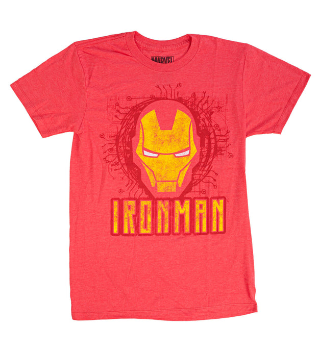 Marvel Iron Man Embossed Face Mens T Shirt Heather Red
