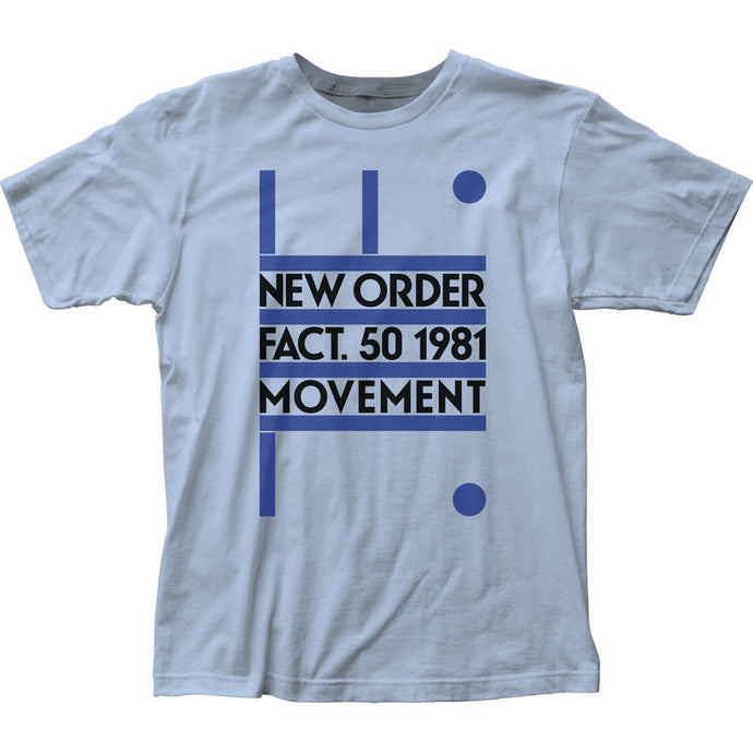 New Order Fact 50 1981 Movement Mens T Shirt Light Blue