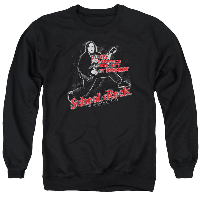 School Of Rock Rockin Mens Crewneck Sweatshirt Black