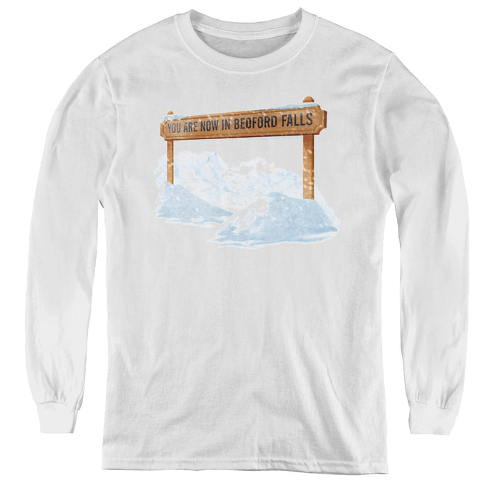 Its A Wonderful Life Bedford Falls Long Sleeve Kids Youth T Shirt White