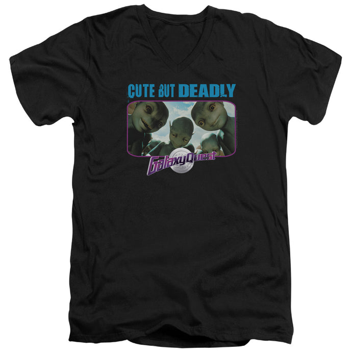 Galaxy Quest Cute But Deadly Mens Slim Fit V-Neck T Shirt Black