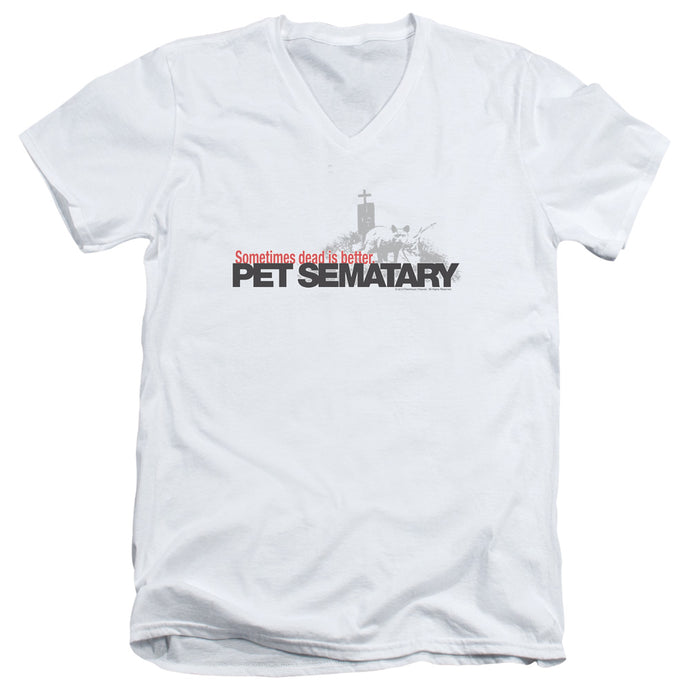 Pet Sematary Logo Mens Slim Fit V-Neck T Shirt White