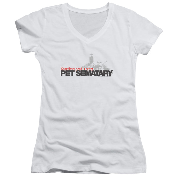 Pet Sematary Logo Junior Sheer Cap Sleeve V-Neck Womens T Shirt White