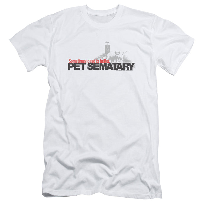 Pet Sematary Logo Slim Fit Mens T Shirt White