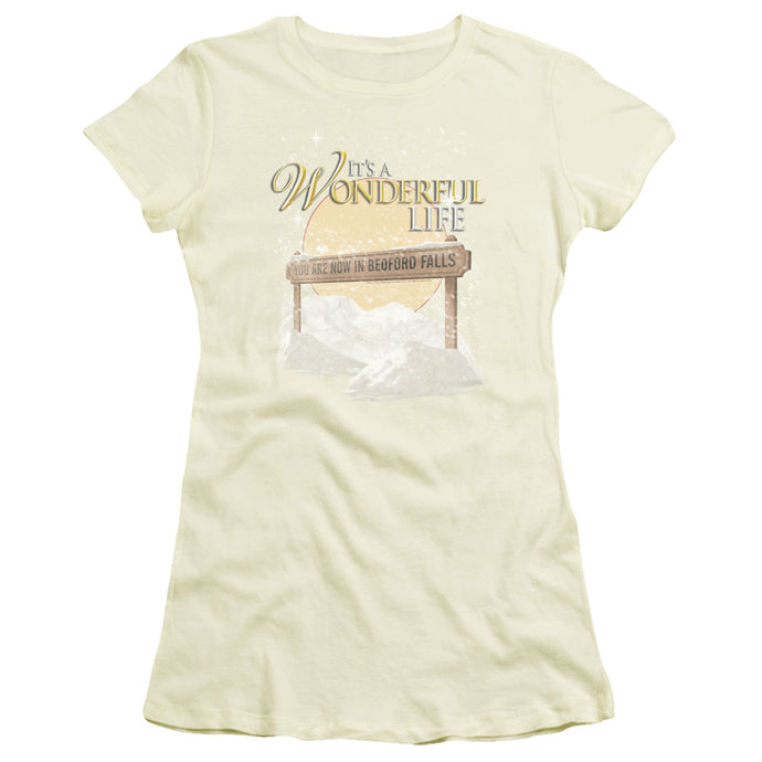 Its A Wonderful Life Wonderful Story Junior Sheer Cap Sleeve Womens T Shirt Cream