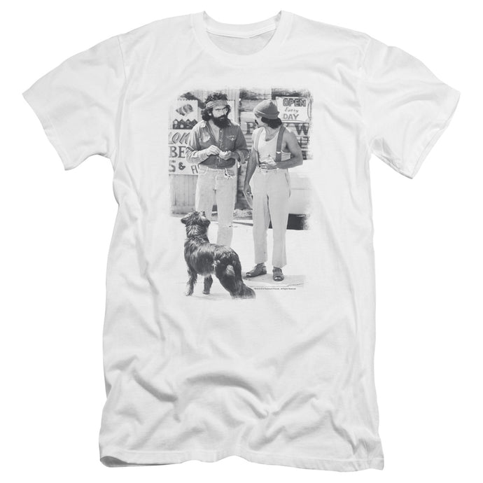 Up In Smoke Cheech Chong Dog Premium Bella Canvas Slim Fit Mens T Shirt White