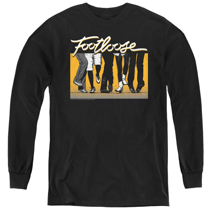 Footloose Dance Party Long Sleeve Kids Youth T Shirt Black