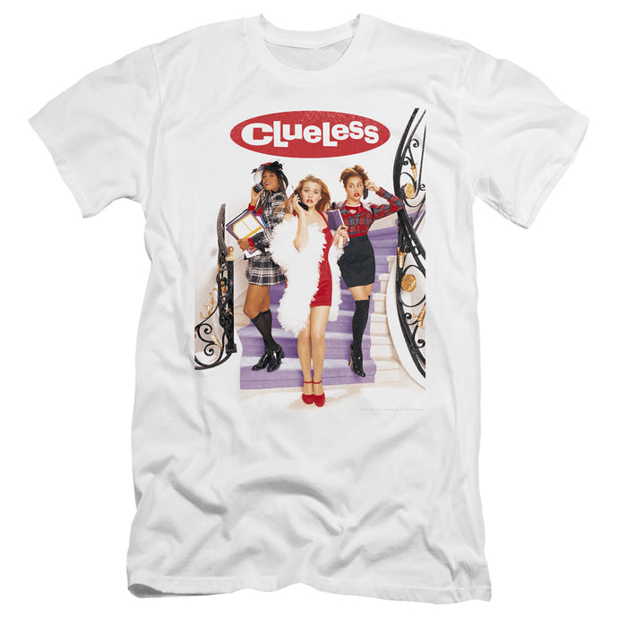 Clueless Clueless Poster Premium Bella Canvas Slim Fit Mens T Shirt White