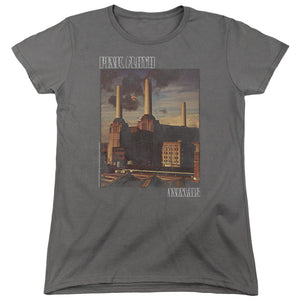 Pink Floyd Faded Animals Womens T Shirt Charcoal