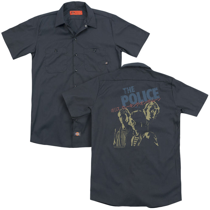 The Police Japanese Poster Back Print Mens Work Shirt Charcoal