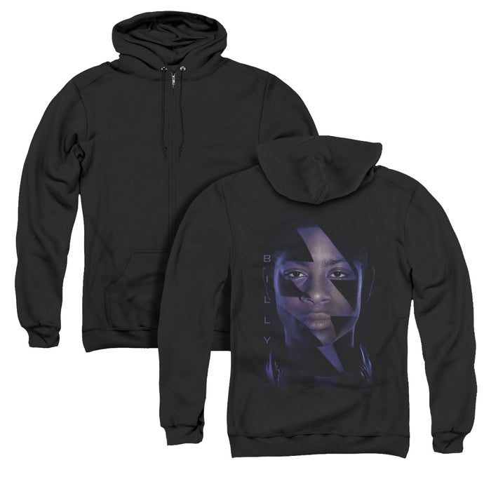 Power Rangers Billy Bolt Back Print Zipper Mens Hoodie Black