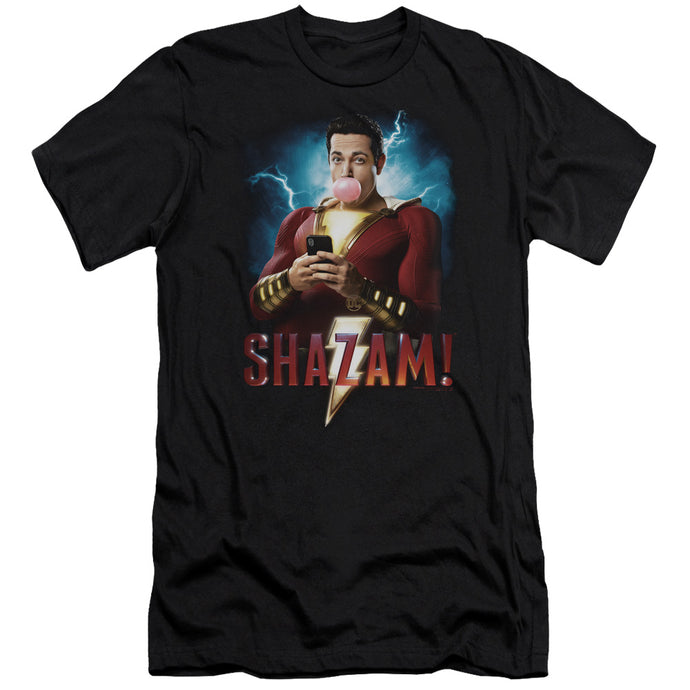 Shazam Movie Blowing Up Slim Fit Mens T Shirt Black