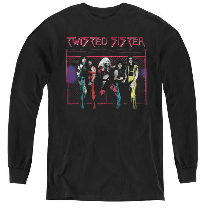 Twisted Sister Neon Gate Long Sleeve Kids Youth T Shirt Black