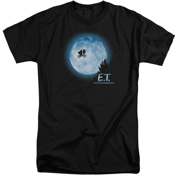 ET the Extra Terrestrial Moon Scene Mens Tall T Shirt Black