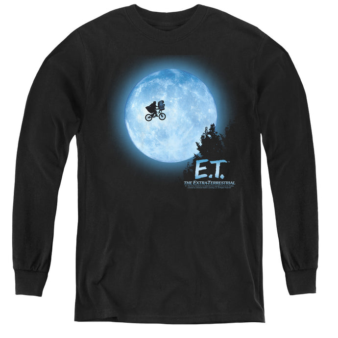 ET the Extra Terrestrial Moon Scene Long Sleeve Kids Youth T Shirt Black