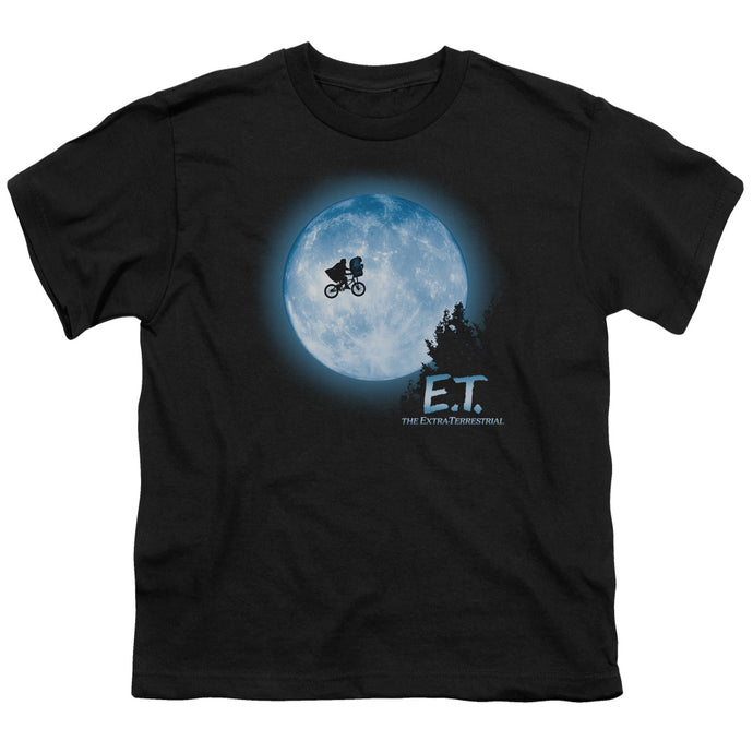ET the Extra Terrestrial Moon Scene Kids Youth T Shirt Black