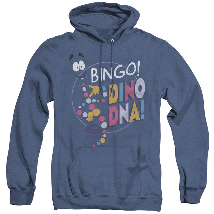 Jurassic Park Bingo Dino DNA Heather Mens Hoodie Royal Blue