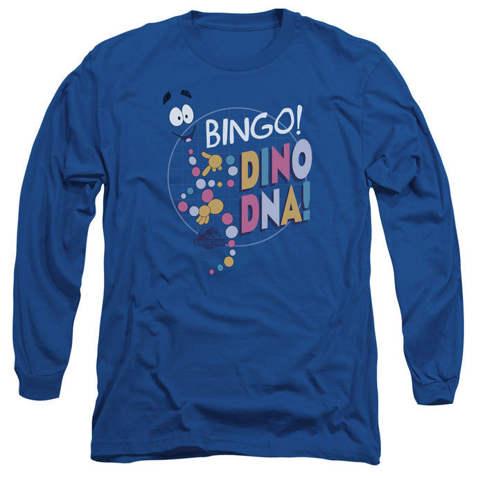 Jurassic Park Bingo Dino DNA Mens Long Sleeve Shirt Royal Blue
