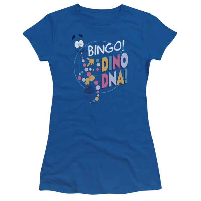 Jurassic Park Bingo Dino DNA Junior Sheer Cap Sleeve Womens T Shirt Royal Blue