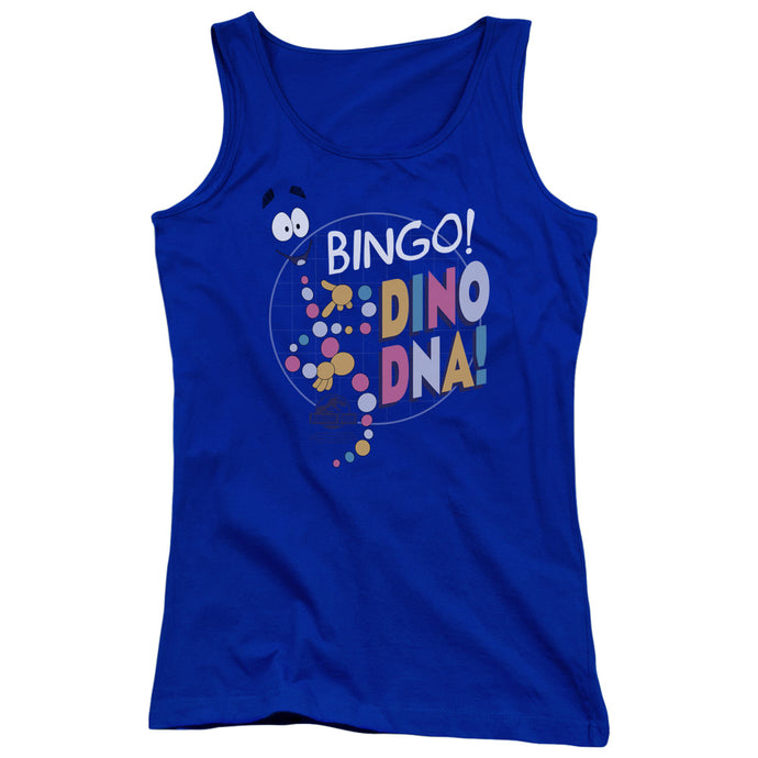 Jurassic Park Bingo Dino DNA Womens Tank Top Shirt Royal Blue