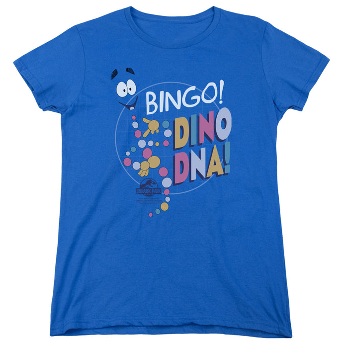 Jurassic Park Bingo Dino DNA Womens T Shirt Royal Blue