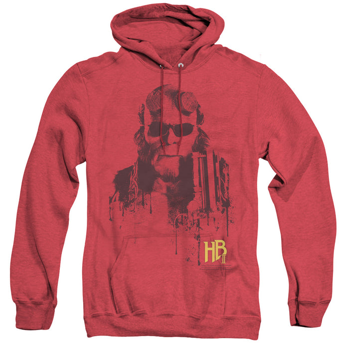 Hellboy II Splatter Gun Heather Mens Hoodie Red