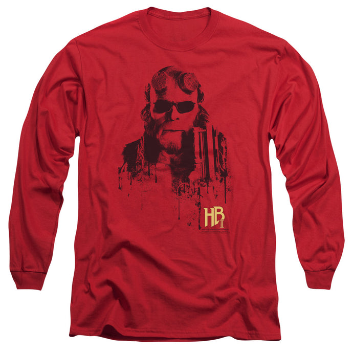 Hellboy II Splatter Gun Mens Long Sleeve Shirt Red